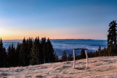 Sonnenaufgang am Schöckl mit Blick auf Graz